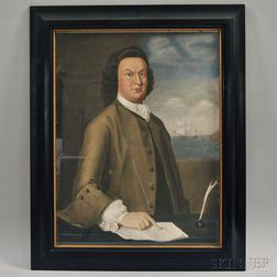 Framed Photograph of a Painting by John Greenwood of Boston Merchant John Langdon