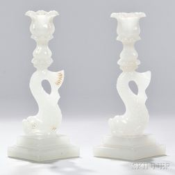 Pair of Opaque White Pressed Glass Dolphin Candlesticks
