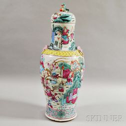 Tall Enameled Porcelain Vase and Cover