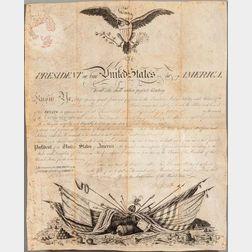 Jefferson, Thomas (1743-1826) Signed Military Commission, 27 April 1802.