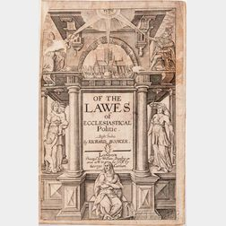 Hooker, Richard (1554-1600) Of the Lawes of Ecclesiastical Politie, Eight Bookes.