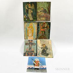 Seven Painted Tin Retablos of Saints.     Estimate $500-700