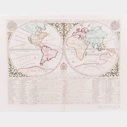World Map. Henri Abraham Chatelain (1684-1743) Mapmonde ou Description Generale du Globe Terrestre.