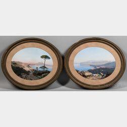 Cesare Uva (Italian, 1824-1886)      Two Neapolitan Gouaches: Couple on a Hilltop