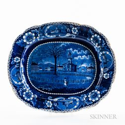 "Large Staffordshire Historical Blue Transfer-decorated ""Winter View of Pittsfield, Mass."" Platter"