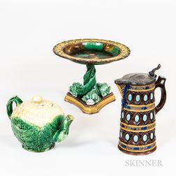 Three Majolica Glazed Ceramic Table Items