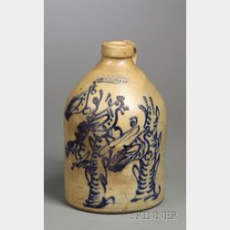Stoneware Jug Decorated with Four Cobalt Blue Birds on Two Stumps