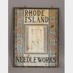 """Polychrome Painted Wooden """"Rhode Island Needleworks"""" Trade Sign"""