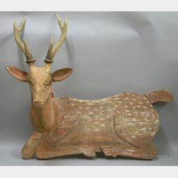 Antler-mounted Carved and Painted Wooden Recumbent Deer-form Wall Plaque