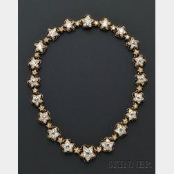 Important Antique 18kt Gold, Diamond, and Enamel Demi-parure