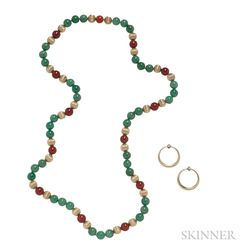 14kt Gold and Diamond Earclips and Gem-set Bead Necklace