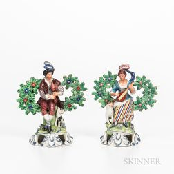 Pair of Staffordshire Bocage Musicians