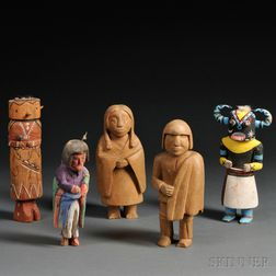 Six Carved Wood Items