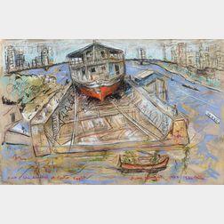 Ivan Le Lorraine Albright (American, 1897-1983)      Dock of Abu Simbel at Cairo, Egypt