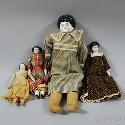 Three China Shoulder Head Dolls and One Small China Head Doll