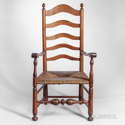 Maple and Tiger Maple Slat-back Armchair