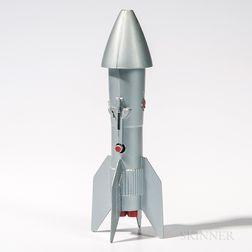 Vintage Cast Metal Rocket Mechanical Bank