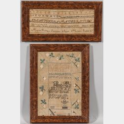 Two Framed American Needlework Samplers
