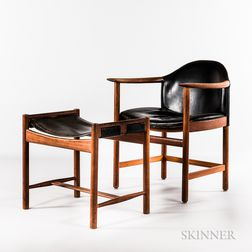 Leather and Teak Armchair and Footstool