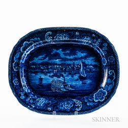 "Large Staffordshire Historical Blue Transfer-printed ""Detroit"" Platter"