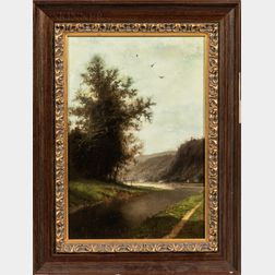 Henri Joseph Pieron (Belgian, 1856-1912)      Landscape with River Bend