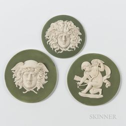 Three Wedgwood Green Jasper Dip Plaques