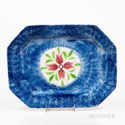 "Octagonal Blue Spatterware ""Cluster of Buds"" Pattern Platter"