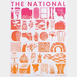 Rob Sato (American, 20th/21st Century)      Concert Poster for The National, Zurich, 2019.