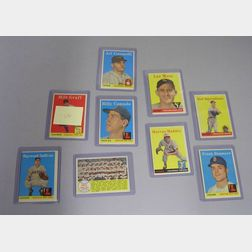 Nine 1958 Topps Baseball Cards