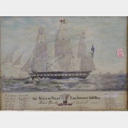 Framed Pencil and Watercolor on Paper The Prince of Wales East Indiaman 1350