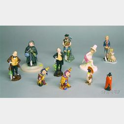 Seven Royal Doulton Porcelain Character Figures, Two Shorter Porcelain Jack Point Figures, and a Beswick Cerami...