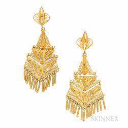 18kt Gold Filigree Earrings