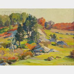 Mabel May Woodward (American, 1877-1945)      The Hills of New England, Autumn
