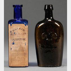 Amber Westford Glass/Sheaf of Wheat Flask and Cobalt Blue Medicine Bottle