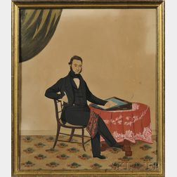 American School, 19th Century      Portrait of a Man Seated at a Table Composing a Letter on His Lap Desk