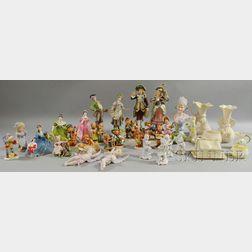 Twenty-seven Assorted Ceramic Figures and Seven Belleek Porcelain Table Items