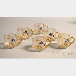Set of Six French Acid-etched and Enamel Floral-decorated Art Glass Punch Cups.