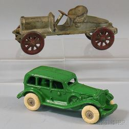 Two Painted Cast Iron Cars