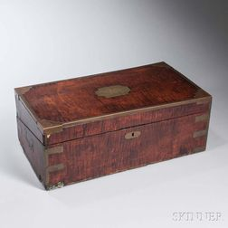 Maple and Brass Lap Desk Belonging to U.S.S. Constitution   Sailor Henry Worthington