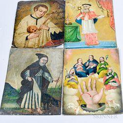 Four Painted Tin Retablos of Saints.     Estimate $400-600