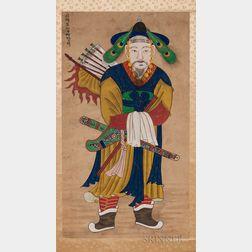 Religious Folk Portrait Hanging Scroll