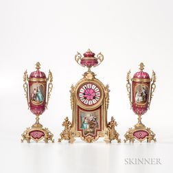 Three-piece Gilt-bronze-mounted Porcelain Japy Freres Clock Garniture