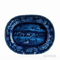 "Staffordshire Historical Blue Transfer-decorated ""Sandusky"" Platter"