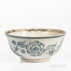 Staffordshire Scratch Blue Decorated Salt-glazed Stoneware Bowl