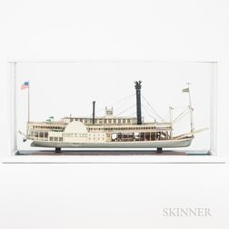Cased Painted Wooden Model of the Paddlewheeler Robert E. Lee
