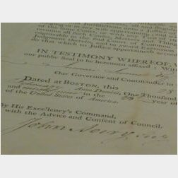 Commission Signed by Increase Sumner, Governor of Massachusetts