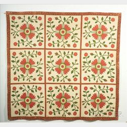 Pieced Cotton California Rose Quilt