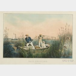 Nathaniel Currier, publisher (American, 1813-1888)      Rail Shooting.  On the Delaware.