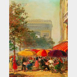 Gena Pechaubes (French, 20th Century)      Lot of Two Works: Flower Sellers at  La Place de la Madeleine, Paris