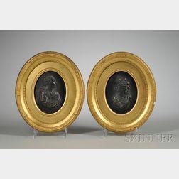 Pair of Wedgwood Black Basalt Oval Portrait Plaques